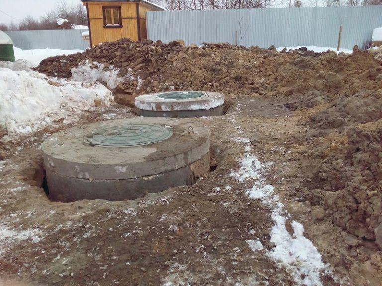 готовый бетонный септик из двух колодцев