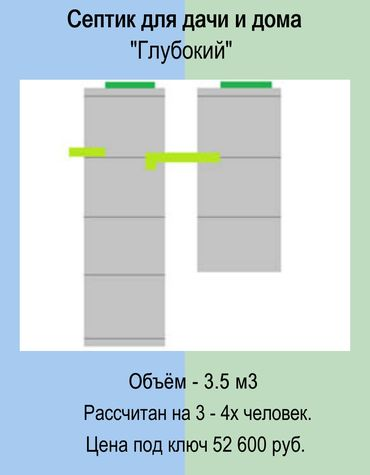 Септик бетонный глубокий для дачи и дома